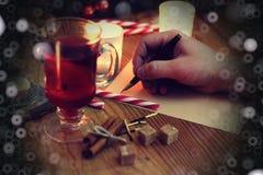 Рассказ сочинительства руки рождества Стоковое фото RF