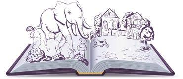 Рассказ слона и мопса Книга басни иллюстрации открытая иллюстрация вектора
