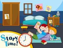 Рассказ чтения отца к детям иллюстрация штока