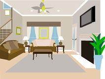 рассказ 2 комнаты angled дома живя самомоднейший Стоковое Изображение RF