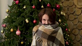 a0790291f54aa Расслабленная молодая женщина в нижнем белье с одеялом отдыхая рядом с рождественской  елкой Красивая усмехаясь девушка