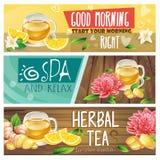 Расслабляющие установленные знамена травяного чая утра Стоковые Фотографии RF