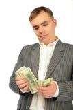 рассматривает деньги человека Стоковое Изображение RF