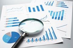 Рассматривать бизнес-отчеты рост диаграмм диаграмм дела увеличил тарифы профитов Стоковые Изображения