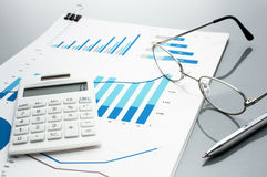 Рассматривать бизнес-отчеты рост диаграмм диаграмм дела увеличил тарифы профитов Стоковое Изображение RF