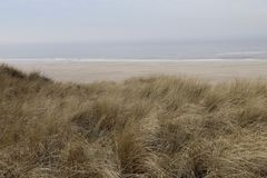 Рассматривать дюн-трава над Северным морем на ilse VLieland стоковое фото