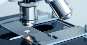 Рассматривать образца испытания под микроскопом в лаборатории сток-видео