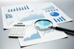 Рассматривать финансовые отчеты рост диаграмм диаграмм дела увеличил тарифы профитов Стоковое фото RF