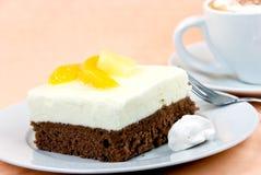 расстегай персика капучино cream взбил югурт Стоковое Изображение RF