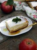 Расстегай с сыром и яблоками коттеджа Стоковое Изображение