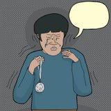 Расстроенный плача человек с медалью иллюстрация вектора