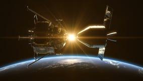 Расстыковать космической станции в лучах Солнця над землей иллюстрация штока