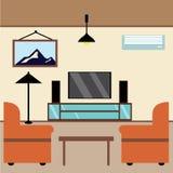 Расслабляющая комната осмотреть ТВ стоковое изображение rf