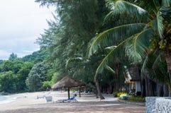 Расслабляющие кресла для отдыха с бамбуковым парасолем на белом песчаном пляже Стоковые Изображения RF