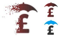 Растворяя фунт полутонового изображения пиксела финансирует значок крыши бесплатная иллюстрация