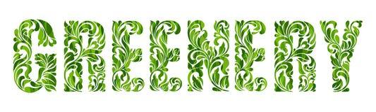 Растительность - цвет года 2017 Декоративный шрифт с свирлями и флористическими элементами Стоковое Изображение RF