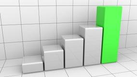 Растущая диаграмма или серая и зеленая столбчатая диаграмма Концепции роста или успеха дела перевод 3d Стоковое Изображение