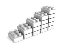 Растущая диаграмма в виде вертикальных полос от белых блоков игрушки Стоковое фото RF