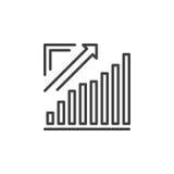 Растущая диаграмма, диаграмма стрелки идя вверх линия значок, знак вектора плана, линейная пиктограмма изолированная на белизне Стоковые Изображения RF