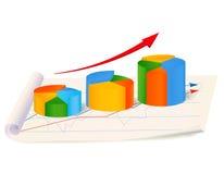 Растущая диаграмма пирога с стрелкой на бумаге Стоковые Изображения