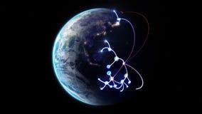 Растущая сеть через мир иллюстрация вектора