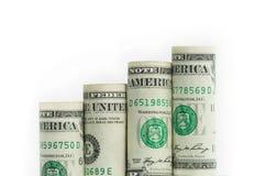 Растущая столбчатая диаграмма от банкнот доллара США Стоковое Изображение