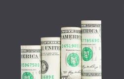 Растущая столбчатая диаграмма от банкнот доллара США Стоковые Изображения RF