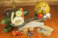 Растущие овощи в органической ферме Овощи, который выросли в малом домашнем саде Старый вес металла на домодельной еде Стоковые Изображения RF