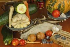 Растущие овощи в органической ферме Овощи, который выросли в малом домашнем саде Старый вес металла на домодельной еде Стоковые Изображения