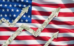 Растущий доллар замечает стрелки над флагом объединенного положения Америки Стоковые Изображения