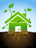 Растущий символ дома как завод с листьями и корнями бесплатная иллюстрация