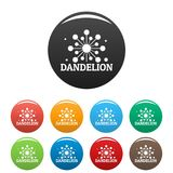 Растущими вектор цвета логотипа одуванчика установленный значками Стоковые Фото