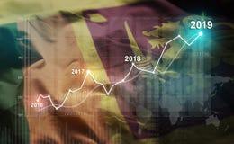 Растя статистика финансовое 2019 против флага Шри-Ланка стоковое изображение rf