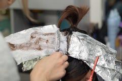 Расцветка волос в салоне Стоковое Изображение RF