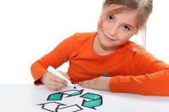 Расцветка девушки рециркулируя знак Стоковое Изображение