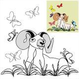 Расцветка с шаблонами - Ram с butterflyes стоковые изображения