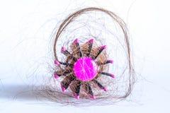Расчесывайте волосы с вихорами, пачку волос, серий волос на конце щетки для волос вверх на белизне Стоковое Изображение RF
