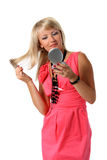 расчесывающ волос девушки ее зеркало Стоковое Фото