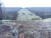Расчистка в лесе для газопровода Стоковое Изображение