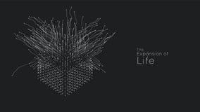 Расширение жизни Предпосылка взрыва куба вектора Небольшие частицы стремятся из центра Запачканные debrises в лучи или иллюстрация штока