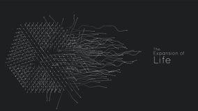 Расширение жизни Предпосылка взрыва куба вектора Небольшие частицы стремятся из центра Запачканные debrises в лучи или иллюстрация вектора