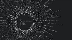 Расширение жизни Предпосылка взрыва сферы вектора Небольшие частицы стремятся из центра Запачканные debrises в лучи иллюстрация вектора