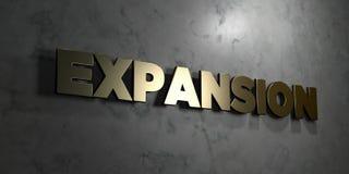 Расширение - знак золота установленный на лоснистой мраморной стене - 3D представило иллюстрацию неизрасходованного запаса короле иллюстрация штока