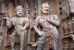 ратники буддийских статуй каменные Стоковые Фото