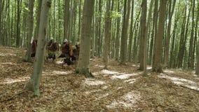 Ратники Викингов бегут в лесе на сражении акции видеоматериалы
