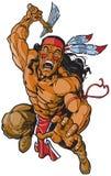Ратник апаша коренного американца атакуя с томагавком Стоковое Изображение RF