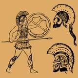 Ратник древнегреческия иллюстрация штока