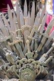 Ратник, железный трон сделанный с шпагами, сцена фантазии или этап r Стоковые Фото