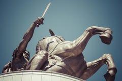 Ратник на статуе лошади Стоковая Фотография RF
