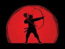 Ратник самураев с смычком иллюстрация штока